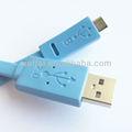 micro usb cabo tipo flat cor azul
