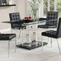 Jc-31 moderne en verre noir& table en acier inoxydable& en similicuir noir chaises salle à manger ensemble de meubles