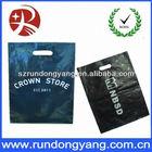 Die cut custom black plastic shopping bags with customer logo