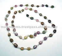 Precious Gemstone Beads 925 Sterling Silver Wire Chain