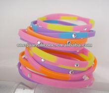 Fashion girls bracelet silicone wristband silicone band with charming diamond
