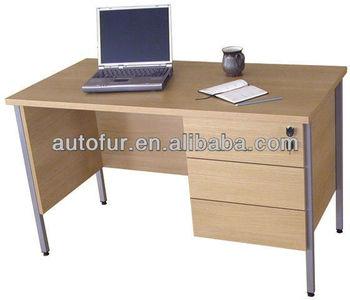 Robust wood top steel frame office computer desk