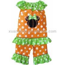 baby girls polka spot yellow ruffle smock dress and capris/pant pumpkin outfit