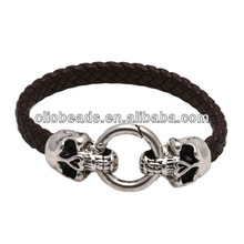 brown pu leather braided bracelet wristband