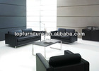 Stainless steel base genuine leather office sofa set