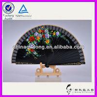 Qiulong Art and Craft Factory Black Wood Hand Held Folding Fans
