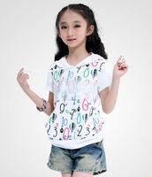 leisure girl's soft short sleeve full printed t-shirt children