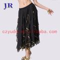 Danza del vientre falda larga de las faldas de gasa para la mujer egipcia monedas q- 6019#