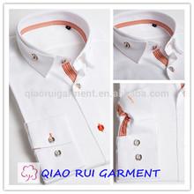 Qiaoruiผู้ชายผ้าฝ้าย100%ตุรกีสูงน่าตื่นตาตื่นใจคู่ปกเสื้อเชิ้ตลำลอง