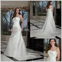 YWD10756 New arrival Strapless sweetheart A-line floor length Champel train Pleated satin beaded silk wedding dress