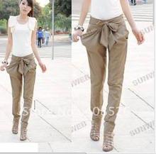 women's OL casual Bow harem pants 2 colors Black Khaki Skinny Long Trousers 5569