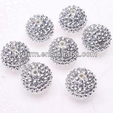 2014 Hot Sale Wholesale Resin Rhinestone Beads, Silver Rhinestone Ball For Jewelry