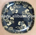 Black Color Melamine Tableware Dinnerware with Golden prints