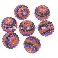 Wholesale Resin Rhinestone Ball Orange And Purple Striped Halloween Rhinestone Beads