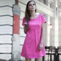 YIGELILA Fashion Simple Cute Chiffon O-neck Casual Dress 6413