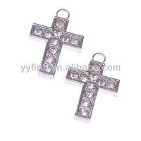 Wholesale 39*26mm Jewelry Pendant Silver Alloy Rhinestone Cross Pendant Cross