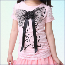 Cheap baby sleeve top Wholesale cotton knitted baby clothing Girls T-shirts