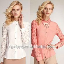 2013 la moda de nueva coreano ropa de diseño superior y blusas de chifon