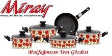 Porcelain Enamel Flat Saucepan 9 pcs cookware sets