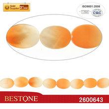 2013 Fashion Fluorescence White&Orange Dyed Lentil Shell Beads