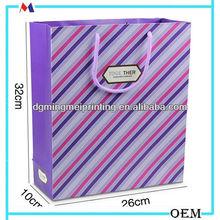 dubai wholesale stripe shopping paper bag oem/mingmei co. brand paper bags