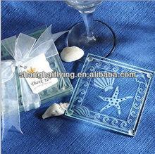 Sea Shell and Starfish Glass Coaster Wedding Favor