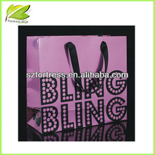 2014 Newest design printed purple glossy shopping paper bags
