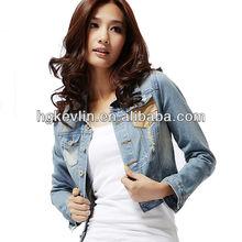 2014 cheap custom women fancy wholesale denim jackets