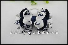 Navy and white stripe ribbon hair bows