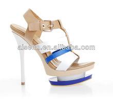 China wholesale cheap footwear high heels double platform sandals
