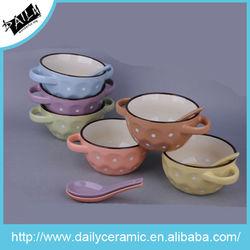 ceramic mug withspoon and dot design