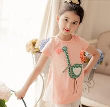 D37583A 2015 summer cotton new fashion kids girls short sleeve t-shirts