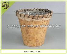 birch bark flower pot round handmade planter