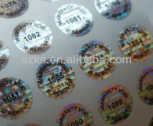 Hologram tamper evident sticker