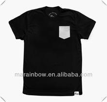 Black Slim Fit custom made crewneck T shirts with White leather Pocket,leather Pocket t shirt