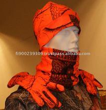 Great Hunters red camo hat, gloves, neck warmer fleece set