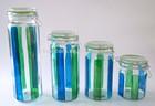 hand-painted glass storage jar wit glass lid metal clip