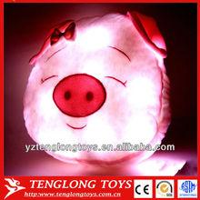 2014 new design cute pig shaped night bright light pillows