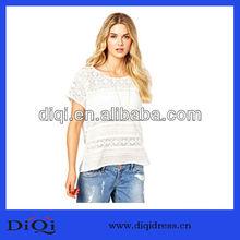 High quality hot sale Round neckline woman cotton Gorgeous lace crochet Scalloped edge tops(DQ9119)