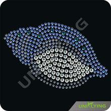 Dark blue seashell rhinestone iron on transfers wholesale
