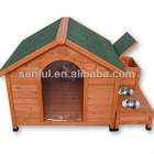 Wooden dog kennel with bowl