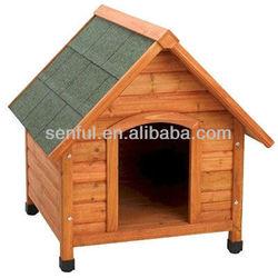Peaked roof wood dog kennel