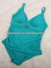 EFFIGI plus size green padded front lined nylon lycra super soft women plus size one-piece swimsuit