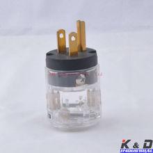 Audio AMP US Male Polish Brass Transparent AC Power Plug