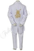 bt225 bambino bianco ragazzo tuta tuxedo bambino abiti da cerimonia battesimo battesimo cerimonia jacquard ricamo angelo 5pc 2t 3t 4t