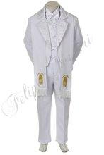 Btws6 bambino bianco ragazzo tuta tuxedo bambino abbigliamento formale battesimo battesimo cerimonia jacquard Guadalupe 6pc w/rubato s m l xl