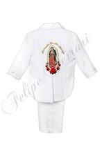 btc11 bianco baby boy bambino abbigliamento formale battesimo battesimo cerimonia ricamo jacquard Guadalupe 5pc tuta tuxedo s m l xl