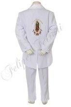 1151 bambino bianco ragazzo bambino abiti da cerimonia battesimo battesimo cerimonia ricamo jacquard Guadalupe 5pc tuta tuxedo 2t 3t 4t