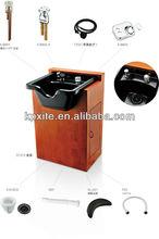 beauty salon orange wooden shampoo cabinet with shampoo basin