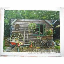 Handmade realistic Scenery Hut photo to oil painting